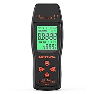 EMF Meter Meterk Strahlung Detektor digitales Strahlenmessgerät Handheld Design mit Hinterbeleuchtung LCD-Anzeige in Schwarz
