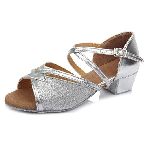 Bild von HROYL Mädchen Tanzschuhe/Latin Dance Schuhe Satin Ballsaal Modell-DS-206 Silber 32.5 EU