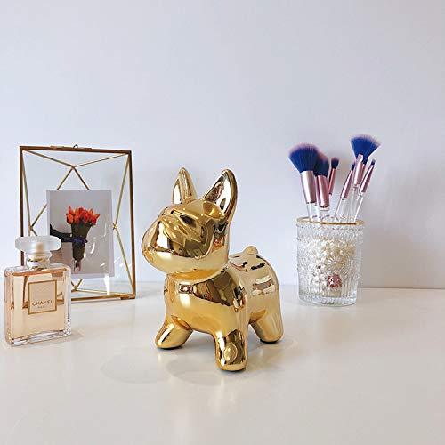 MS-Y Niedliche Hund geformt Keramik Goldmünze Bank Geld sparen Box Desktop Ornamente -