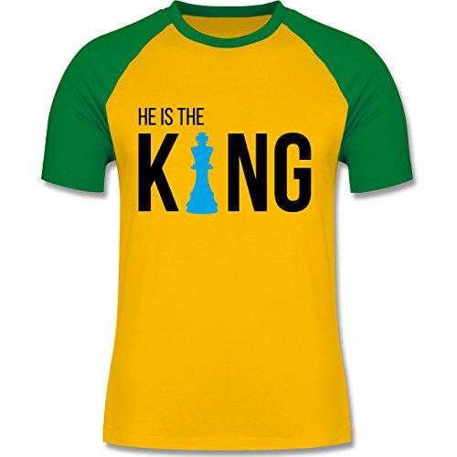 Typisch Männer - Schach-Herren King - zweifarbiges Baseballshirt für Männer Gelb/Grün