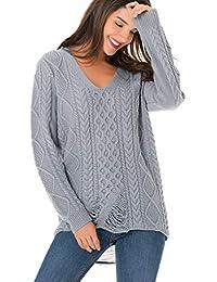 7cb48493922ee1 Clasichic Female Sweatshirt Pullover Damen V-Ausschnitt Pullover  Asymmetrisch Zerrissen Löcher Gestrickte Sweater Langarm M-3XL…