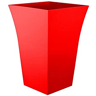 CrazyGadget® Large Milano Tall Planter Square Plastic Garden Flower Plant Pot Gloss Finish RED