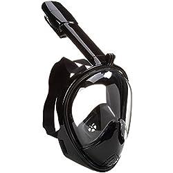 Supstar Masque de Plongée Snorkeling Plein Visage de Masque de Plongée Snorkel Lunettes Adultes Enfants 180°Visible Antibuée et Anti-fuite Sous-Marine Snorkel Masque avec la Monture pour Caméra-S/M/Noir