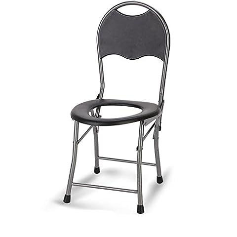 KDGWD Chaises percées ® Chaise de commode pliante avec siège de toilette Chaise de salle de bain Tabouret pour femmes enceintes Vieil homme et personnes handicapées Acier inoxydable) (Gris)