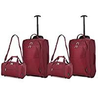 Set of 4 - 2x Ryanair Cabin Approved 55x40x20cm & 2x Second 35x20x20 Hand Luggage Set - Carry On Both items! (Wine / Wine)