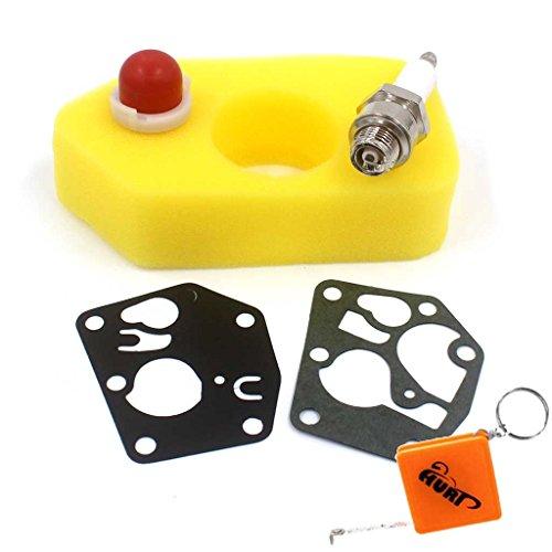 HURI Luftfilter/Zündkerze/Membrane/Primer Pump für Briggs & Stratton Classic 3-3,75 PS Sprint und Quattro 4PS Motoren Ersetzt 698369 495770 795083 272372 281028 694394 494408 NGK B2LM Champion J19LM Classic Pump