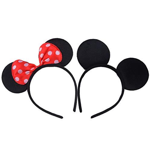 2 pezzi mickey minnie nero rosso fasce per capelli compleanno feste di halloween mamma ragazzi ragazze accessori per capelli belle orecchie da topo copricapo decorazioni (nero rosso)