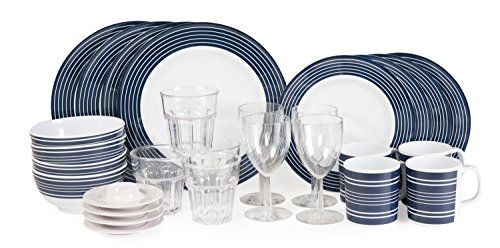 Melamin Campinggeschirr Navy- Pinstripe Blau-Weiß 28 teile Inkl.4x Wasser +4x Weinglas +4x Eierbecher