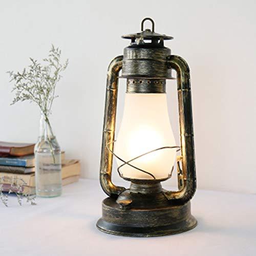 Rost-akzenten (JYL Weinlese-rustikale Akzent-altmodische elektrische Laternen-Öl-Lampe, chinesische antike Wohnzimmer-Tischlampe LED-Birnen-Bronze-Rost-Ende Dimmable Nightstand Desk Table Lamps)
