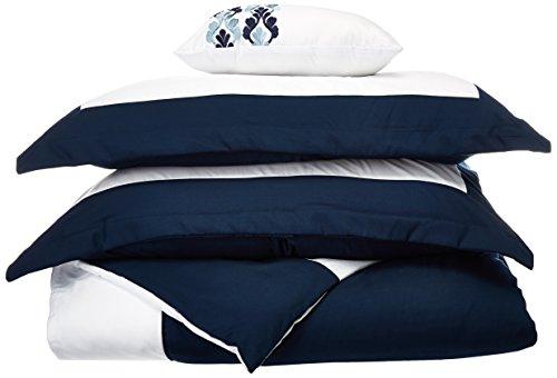 Chic Home 4Stück Wynn Modern zweifarbig wendbar Hotel Collection, mit verziert Grenzen und Stickerei Decor Kissen KING Bettbezug Set beige, Mikrofaser, blau, Twin (Hotel King Stickerei)