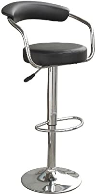 Popamazing 2x Cream/Black Bar Stools - Faux Leather Metal Base Kitchen Breakfast Stool Dining Room Chair