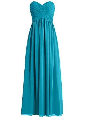 HWAN Frauen eine Linie Schatz Lange Kleid Brautjungfer Abendkleider Blau (Abendkleider Von Jovani)