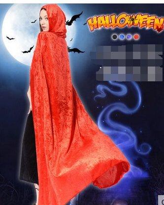 für WEIBLICHE erwachsene Kinder Schwarzer Tod der hexe Mantel mänteln cosplay - maskenball(Rot) (Weiblichen Zauberer Kostüme)