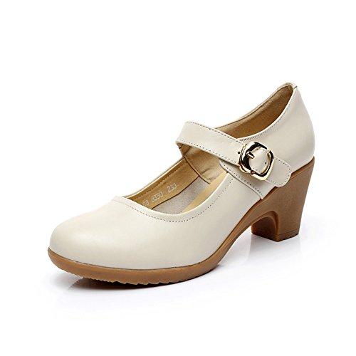 Schuhe Herbst und Winter Bequeme Freizeitschuhe Raue Fersen-A Fußlänge=23.3CM(9.2Inch) (Denim Ferse Mule)