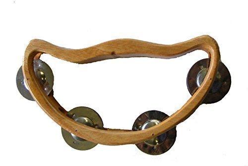 Holz Halbmond Schellentambourin / Shaker mit 4 Schellen - Schönen Klang, Fair-Trade -