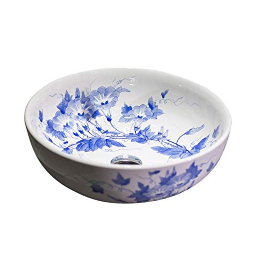 XX XiaoXIAO Badezimmer Waschbecken, chinesische Keramik Aufsatzbecken runde Blaue und weiße Porzellan-Kunst Becken Einzelbecken (ohne Hahn), 40X40X15cm Waschbecken (Size : 40X40X15cm)