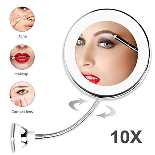 Suszian Espejo de Maquillaje, Espejo de Maquillaje con Aumento de 10X con luz LED Espejo cosmético...