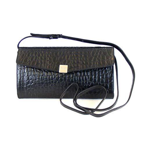 Pavini Damen Tasche Abendtasche Croco Leder schwarz 9271 Trageriemen verstellbar
