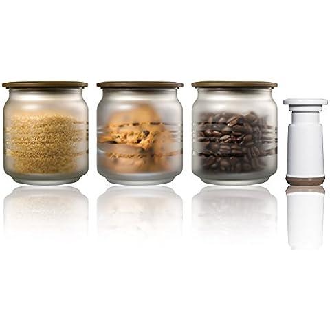 Vacuumsaver C500FBKIT-Set di 3 barattoli di vetro trasparente pompa, 0,5 l, classico, colore: caffè