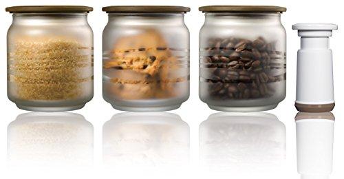 Vacuumsaver c500fbkit-Pack von 3transparenten Sturzglas + Pumpe (0.5L, klassisch) Farbe Kaffee -