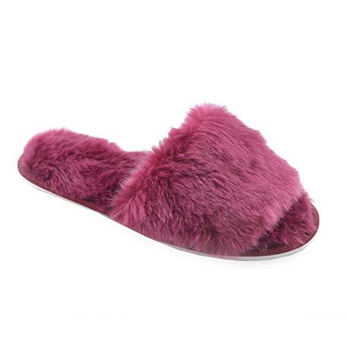 Ciabatte con pelliccia da donna in memory foam babucce morbide pantofole invernali rosso grigio bianco panna (7-8 (euro 40-41), bordò)
