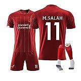 QQT Fußball Trikots Liverpool 11th M.Salah Heimtrikot Kinder und Erwachsenenkleidung Anzug (Hemden + Shorts + Socken)