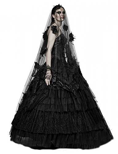 (Dark Dreams Gothic Steampunk Burlesque Braut Rock Bridal Skirt Vampir Faye 34 36 38 40 42, Größe:freesize)