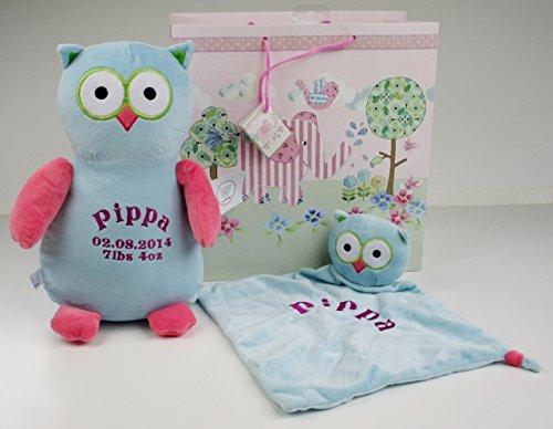 personnalisé Hibou Peluche et Doudou Ensemble cadeau avec sac cadeau & étiquette de cadeau * Beau Cadeau bébé *