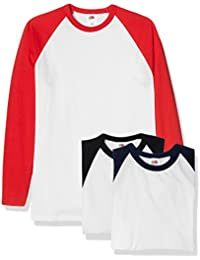 Fruit of the Loom Baseball Classic Long Sleeve Camiseta (Pack de 3) para Hombre