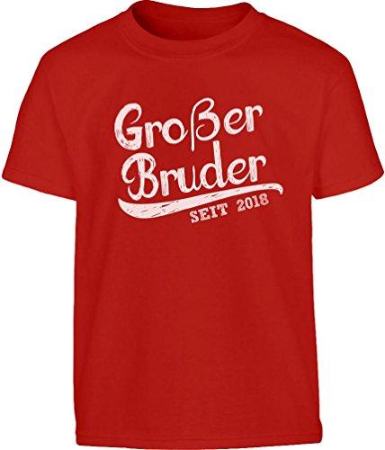 4 Kleinkind-t-shirt (Geschenk Großer Bruder Seit 2018 Kleinkind Kinder T-Shirt - Gr. 86-128 110 (4-5J) Rot)