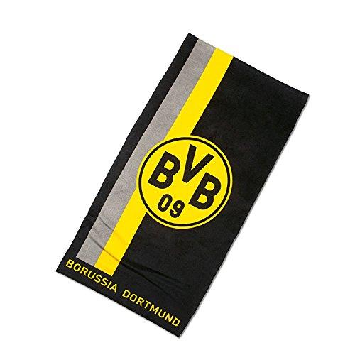 Borussia Dortmund Badetuch / Duschtuch / Strandtuch mit Logo im Streifenmuster BVB 09