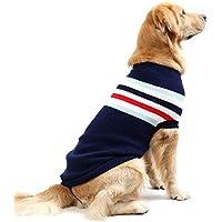 Petyoung Chaleco para Perro a Rayas cálido de Lana Suave para Tejer suéteres de Invierno de Punto de Ganchillo Abrigo Ropa para Perros pequeños y Grandes