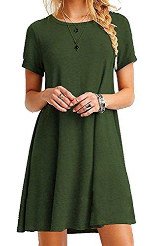 Grünes T-shirt Kleid (ZIOOER Damen Kleider Casual MiniKleid Langes Shirt Lose Tunika Kurzarm T-Shirt Kleid Grün 2XL)