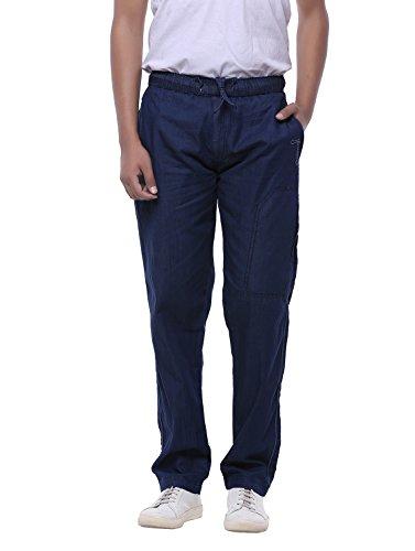 JTInternational Blue Cotton Regular Fit Men's Cargo Track Pant