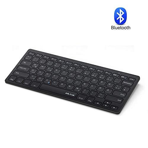 Jelly Comb Bluetooth Funktastatur, Wireless Kabellose Schnurlose Tastatur für PC, Laptop, Smart TV, Android Tablets, iPad und Smartphones, QWERTZ Deutsches Layout, Schwarz