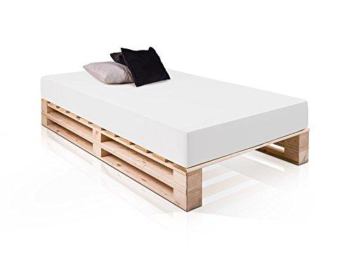 PALETTI Massivholzbett Duo Holzbett Palettenbett Bett aus Paletten mit 11 Leisten, 140 x 200 cm, Fichte Natur