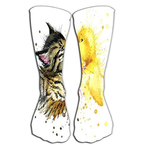(Xunulyn Hohe Socken Outdoor Sports Men Women High Socks Stocking Funny Kitten Duck Watercolor Ice Cream Splash Textured Background Drawing Tile Length 19.7