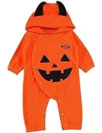 0 - 18 meses Bebe Ropa Halloween,SMARTLADY Bebé Niño Niña Calabaza Bodies Mono con capucha Pijamas Otoño Invierno Ropa