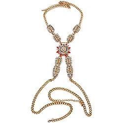 Yiwuhu Aleación de la Cadena del Cuerpo Bikini Jewelry Sexy Necklace Beach Jewelry Fiesta de Baile (Color : Rojo)