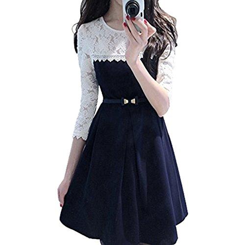 Pop Mantra Women'S Dress (Pm-9000-0065-Blue & White-1-S_Multi-Coloured_Small)