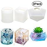 Moule en silicone Velidy DIYResine Art Moules ronds carrés hexagonaux en silicone pour béton, dessous-de-verre/pot de fleur/cendrier/porte-bougie 3Pack(round+Square+diamond)