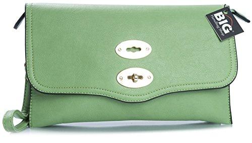 Big Handbag Shop - Borsetta senza manici donna (Green (HR617))