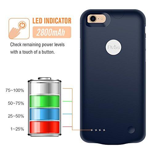 Atree iPhone 7Housse de batterie (2800mAh) Ultra fin Extended étui de chargement pour iPhone 7(11,9cm) Compartiment de batterie externe chargeur portable Battery Pack Etui/câble Lightning Mode d'e bleu