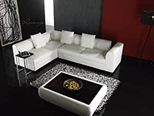 Canapé d'angle & table basse cuir olympe - 5 places