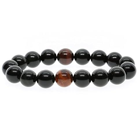 12mm Bracelet Mala Perles de Protection Pierres Naturelles Précieuses Obsidienne