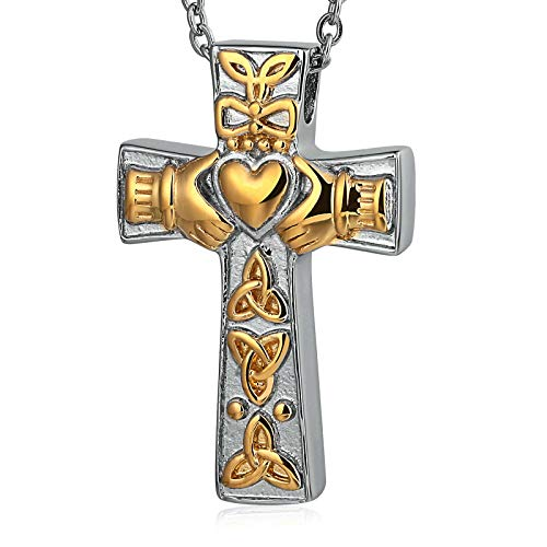 LOUMVE Claddagh Love Knot Esche Halter Urne Anhänger Kreuz Edelstahl Kette für Damen Herren Gold