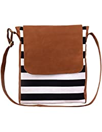 Mabel Kaley Black/ Tan Convas Striped Sling Bag With PU Flap
