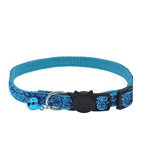 strimusimak Fashion Glitter Cat Kitten Collar with Bell Safety Buckle Adjustable Pet Supply - Water Blue -