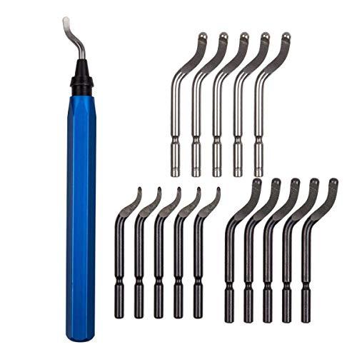 Laniakea Entgratwerkzeug mit Metallgriff und 15 Klingen, für Löcher, für Stahl, Aluminium, Kunststoff, harte Materialien geeignet