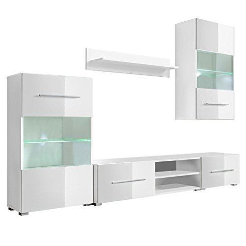 vidaXL Mueble de Pared 5 Unidades Gabinete TV con Iluminación LED Color Blanco